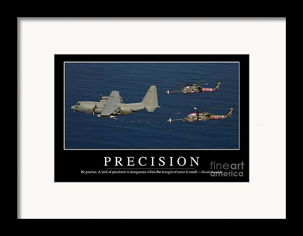 Horizontal Framed Print featuring the photograph Precision Inspirational Quote by Stocktrek Images