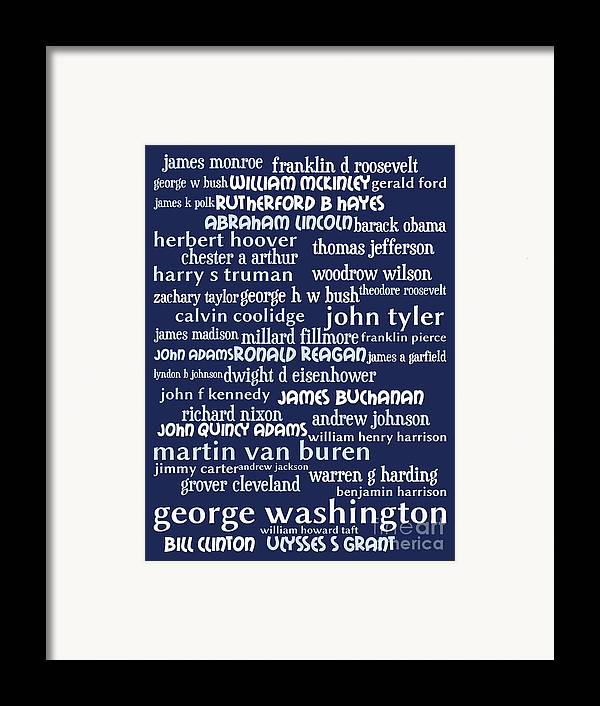 George Washington Framed Print featuring the digital art Presidents Of The United States 20130625bwco80 by Wingsdomain Art and Photography