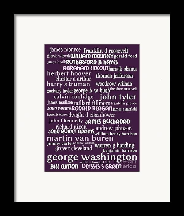 George Washington Framed Print featuring the digital art Presidents Of The United States 20130625bwmag by Wingsdomain Art and Photography