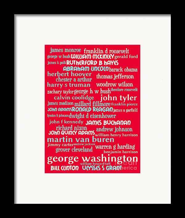 George Washington Framed Print featuring the digital art Presidents Of The United States 20130625p120 by Wingsdomain Art and Photography