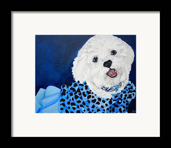 Pretty In Blue Framed Print featuring the painting Pretty In Blue by Debi Starr