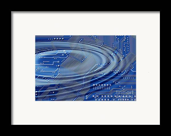 Printed Framed Print featuring the digital art Printed Circuit With Waves by Michal Boubin