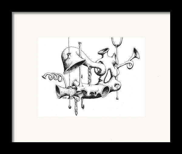 Chain Framed Print featuring the drawing Pull My Chain Sweetheart by Sam Sidders
