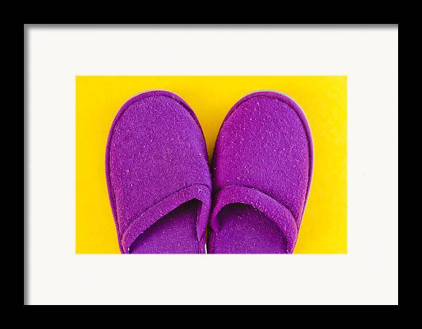 Cosy Framed Print featuring the photograph Purple Slippers by Tom Gowanlock