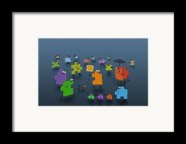 Abstract Framed Print featuring the drawing Puzzle Family by Gianfranco Weiss