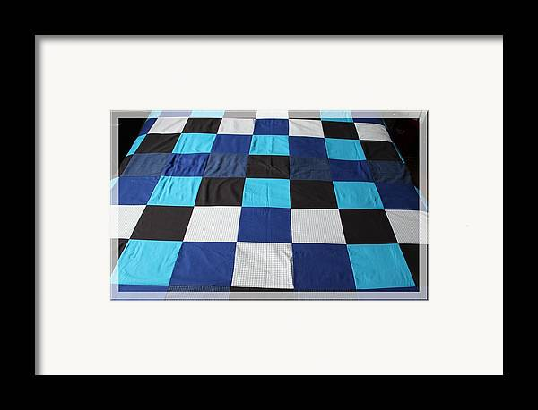 Quilts Framed Print featuring the tapestry - textile Quilt Blue Blocks by Barbara Griffin