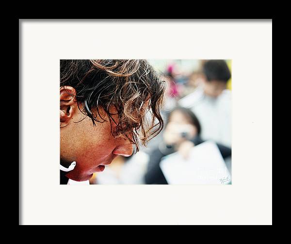 Rafa Nadal Framed Print featuring the photograph Rafael Nadal From Up Close by Nishanth Gopinathan