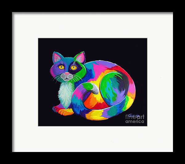 Art Framed Print featuring the painting Rainbow Calico by Nick Gustafson