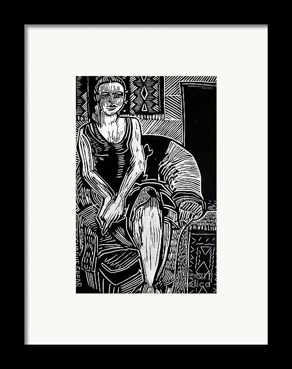 Lino-cut Framed Print featuring the relief Reclining by Charlie Spear