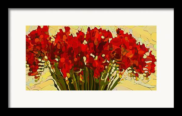 Red Bouquet Framed Print featuring the painting Red Bouquet by Dorinda K Skains