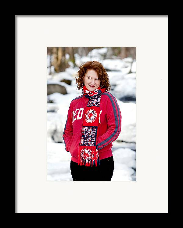 City Framed Print featuring the photograph Red Sox Girl by Greg Fortier