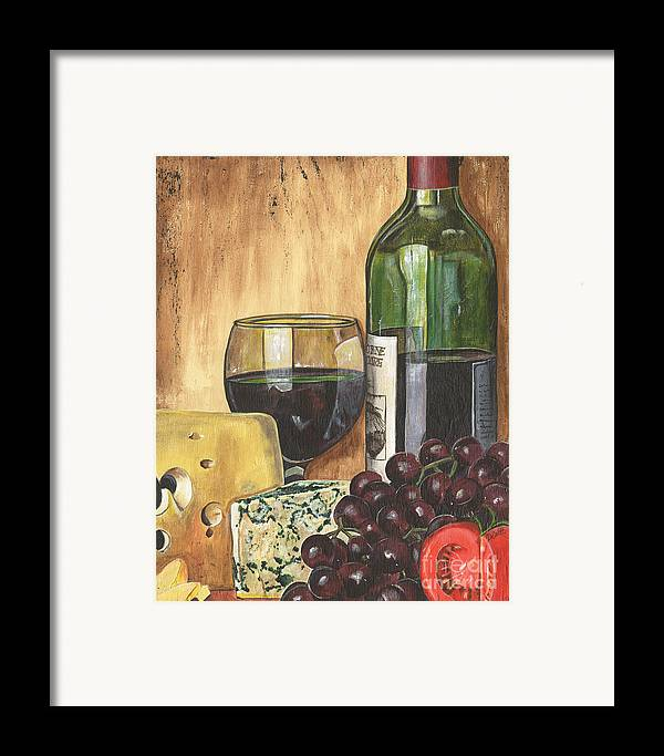 Red Wine Framed Print featuring the painting Red Wine And Cheese by Debbie DeWitt