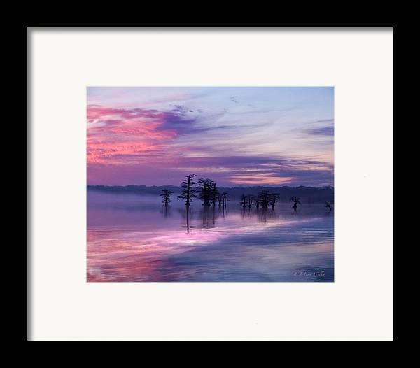 J Larry Walker Framed Print featuring the digital art Reelfoot Lake Sunrise by J Larry Walker