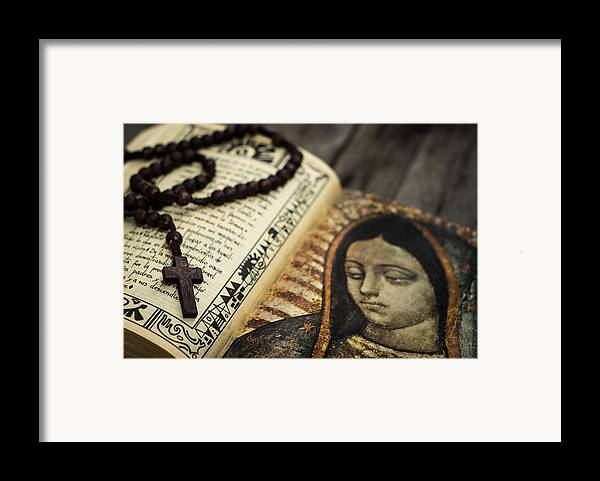 Rosary Framed Print featuring the photograph Religious Concept by Aged Pixel