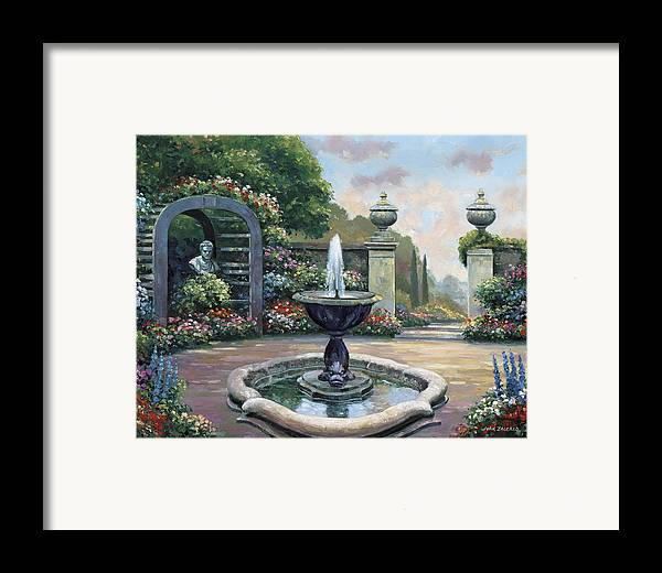 Pallet Framed Print featuring the painting Renaissance Garden by John Zaccheo