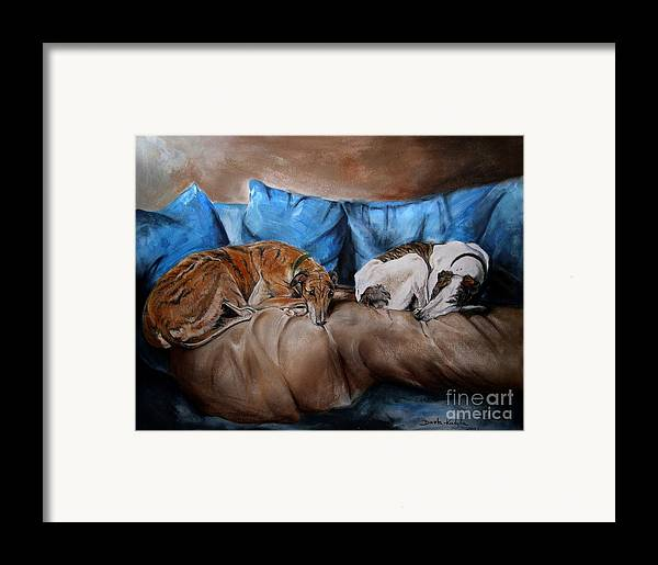 Dog Framed Print featuring the painting Resting Time by Dorota Kudyba