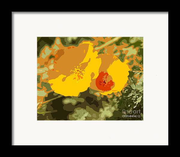 Abstract California Poppies Photographs Framed Print featuring the photograph Retro Abstract Poppies 3 by Artist and Photographer Laura Wrede