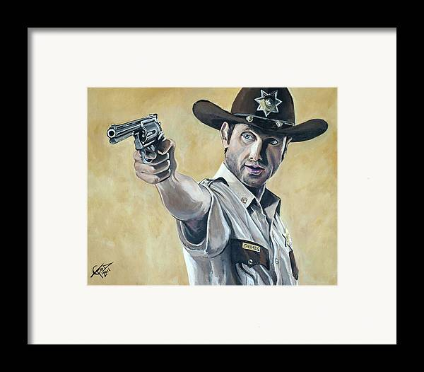 The Walking Dead Framed Print featuring the painting Rick Grimes by Tom Carlton
