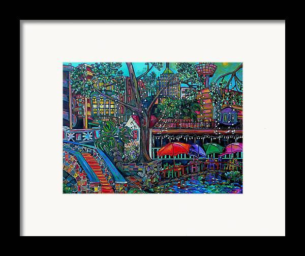 Riverwalk Framed Print featuring the painting Riverwalk by Patti Schermerhorn