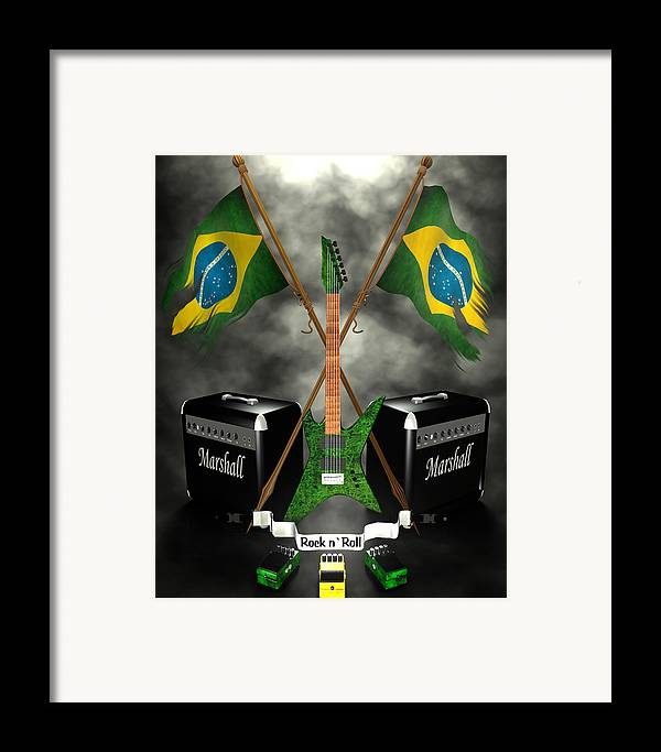 Rock N Roll Framed Print featuring the digital art Rock N Roll Crest - Brazil by Frederico Borges