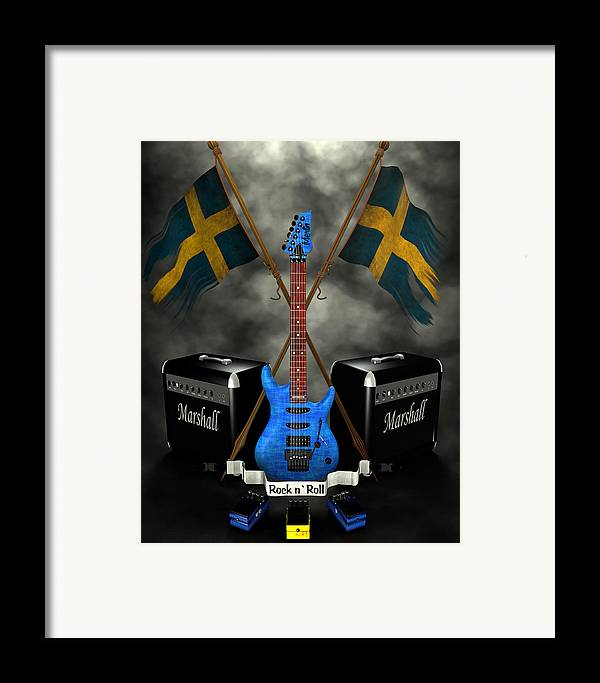 Rock N Roll Framed Print featuring the digital art Rock N Roll Crest- Sweden by Frederico Borges