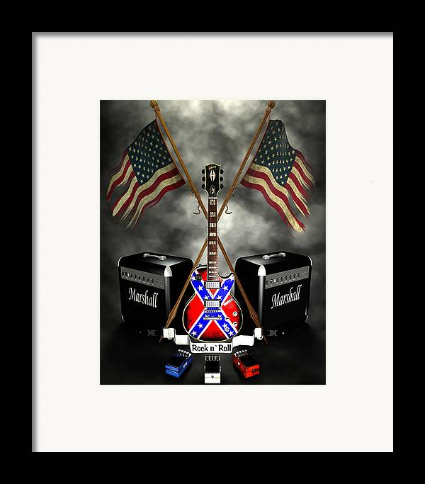 Usa Framed Print featuring the digital art Rock N Roll Crest- Usa by Frederico Borges