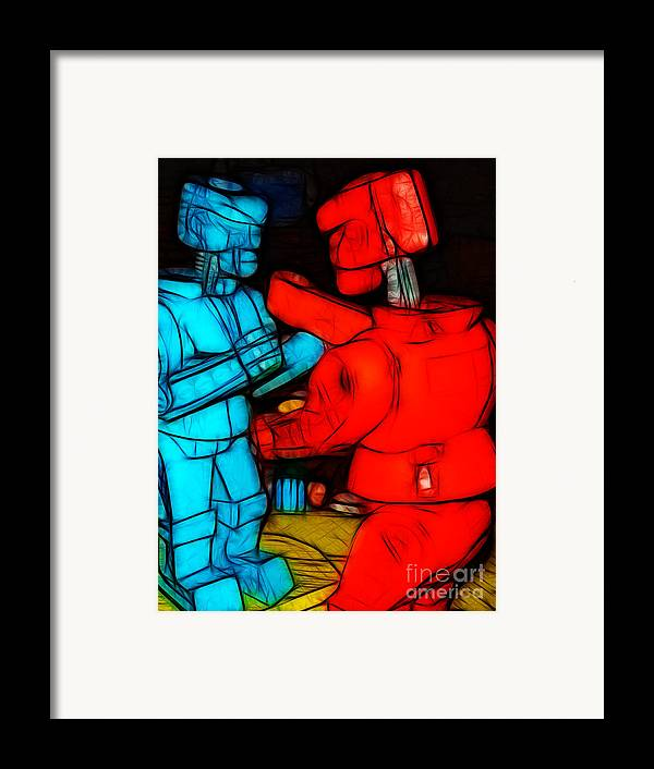 Robot Framed Print featuring the photograph Rockem Sockem Robots - Color Sketch Style - Version 1 by Wingsdomain Art and Photography