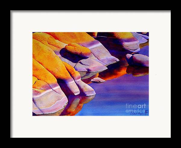 Watercolor Framed Print featuring the painting Rocks At Watson Lake by Robert Hooper