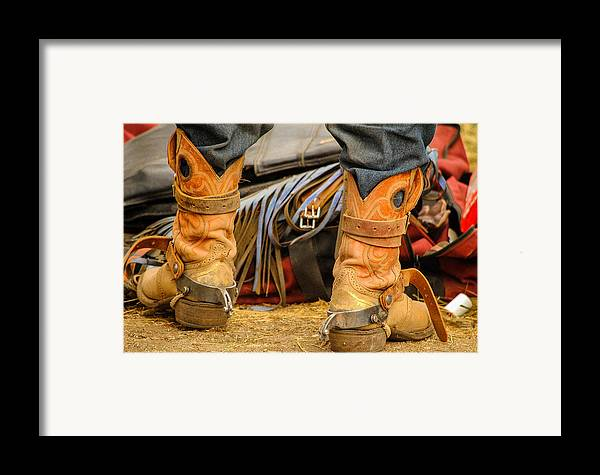 Boot Framed Print featuring the photograph Rodeo Cowboy Tools Of The Trade by Miki Finn