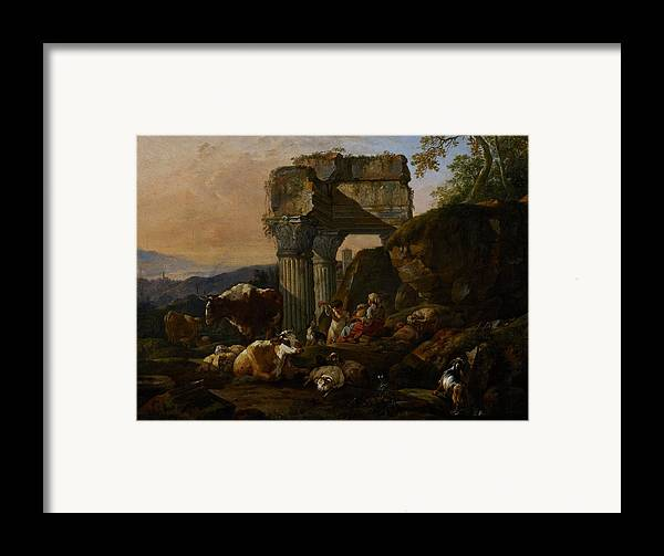Roman Framed Print featuring the painting Roman Landscape With Cattle And Shepherds by Johann Heinrich Roos
