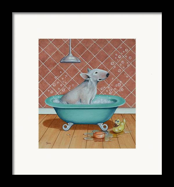 Dogs Framed Print featuring the painting Rosie In The Bliss Bubbles by Cynthia House