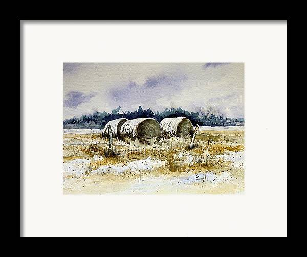 Bales Framed Print featuring the painting Round Bales by Sam Sidders