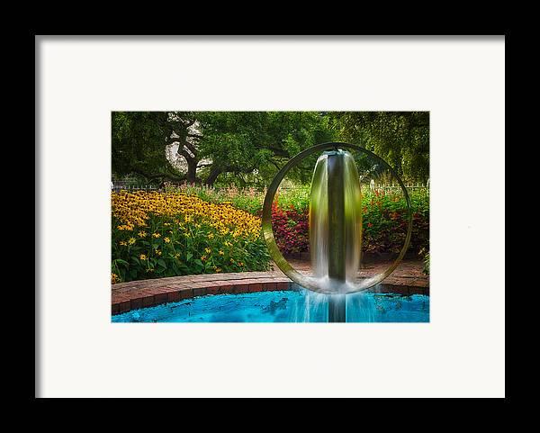 Prescott Park Framed Print featuring the photograph Round Water Sculpture Prescott Park Garden by Jeff Sinon