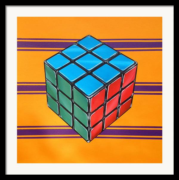 Rubiks Cube Framed Print featuring the painting Rubiks by Anthony Mezza