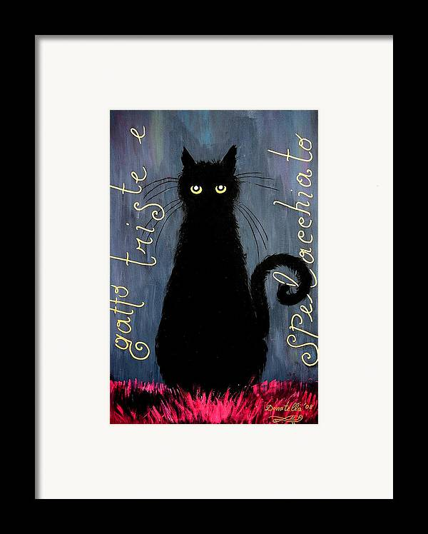 Cat Framed Print featuring the painting Sad And Ruffled Cat by Donatella Muggianu