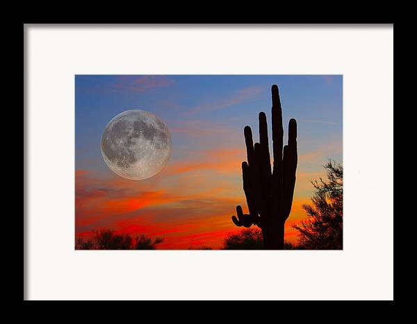 Sunrise Framed Print featuring the photograph Saguaro Full Moon Sunset by James BO Insogna
