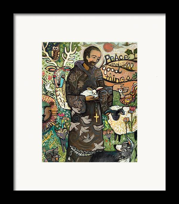 Jen Norton Framed Print featuring the painting Saint Francis by Jen Norton
