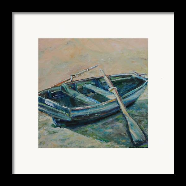 Boat Framed Print featuring the painting San Francisco Dinghy by Susie Jernigan