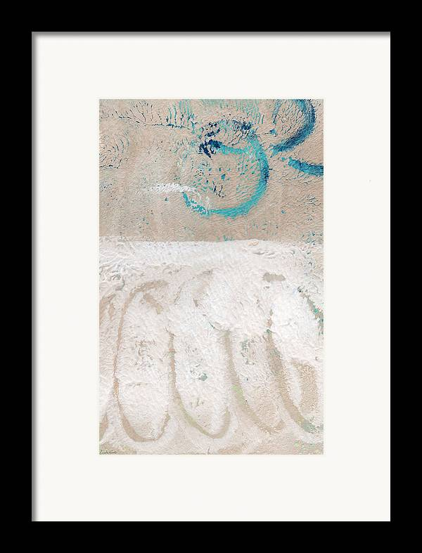 Abstract Framed Print featuring the painting Sandcastles- Abstract Painting by Linda Woods