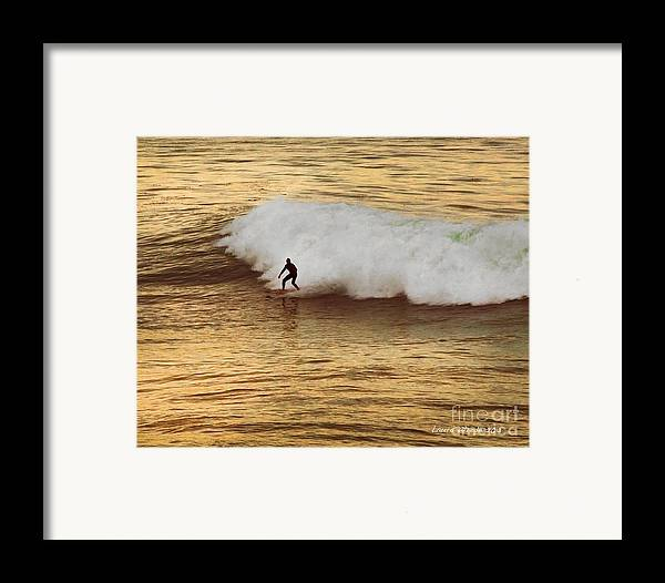 Surfer Framed Print featuring the photograph Santa Cruz Surfing At The Golden Hour by Artist and Photographer Laura Wrede