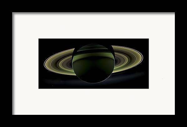 3scape Photos Framed Print featuring the photograph Saturns Glowing Rings by Adam Romanowicz
