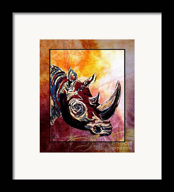 Rhino Painting Framed Print featuring the painting Save The Rhino by Sylvie Heasman