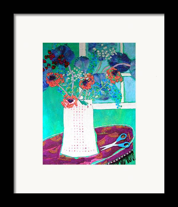 Flowers In A Vase Framed Print featuring the mixed media Scissors by Diane Fine