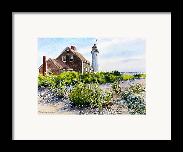 Clouds Framed Print featuring the painting Scituate Light By Day by Karol Wyckoff