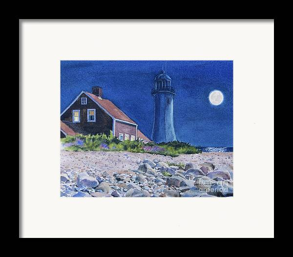 House Framed Print featuring the painting Scituate Light By Night by Karol Wyckoff