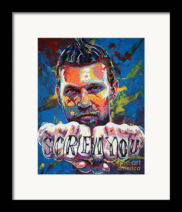 Chris Andersen Framed Print featuring the painting Screw You by Maria Arango