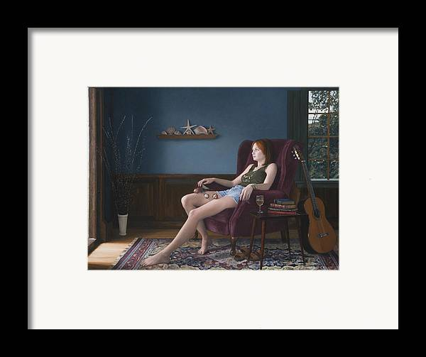 Female Framed Print featuring the painting Seashells And Guitar by Charles Pompilius