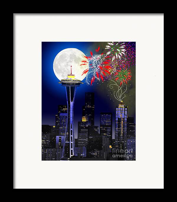 Seattle Skyline Framed Print featuring the painting Seattle Skyline by Methune Hively