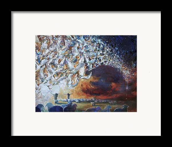Christmas Framed Print featuring the painting Seeing Shepherds by Daniel Bonnell