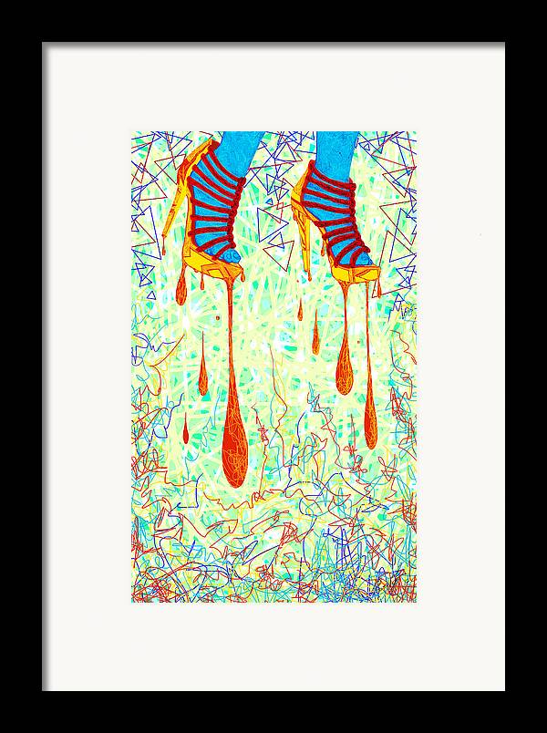 Digital Art Of High Heels Framed Print featuring the drawing Sexy High Heels Gold Abstraction by Kenal Louis